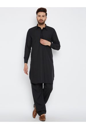 SOJANYA Men Black Solid Pathani Kurta with Salwar