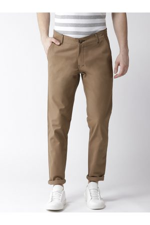 Hubberholme Men Olive Brown Slim Fit Solid Regular Trousers
