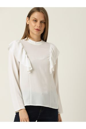 Benetton Women Off-White Solid Top