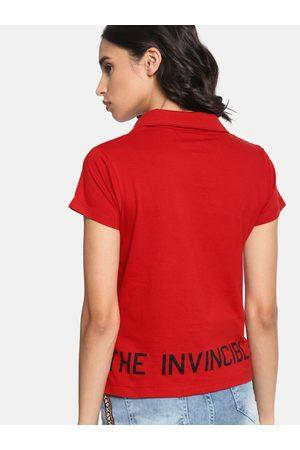 Kook N Keech Women Red Printed Polo Collar T-shirt