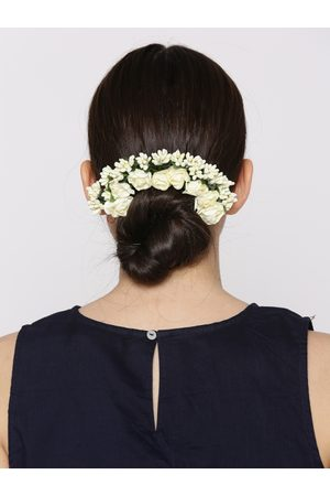 Priyaasi Women Off-White & Green Beaded Floral Handcrafted Hair Accessory