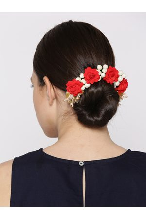 Priyaasi Women Off-White & Red Beaded Floral Handcrafted Hair Accessory