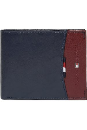 Tommy Hilfiger Men Navy Blue & Brown Leather Colourblocked Two Fold Wallet