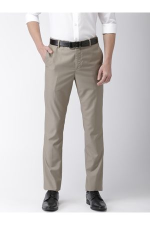 Arrow Men Brown Tapered Fit Solid Formal Trousers