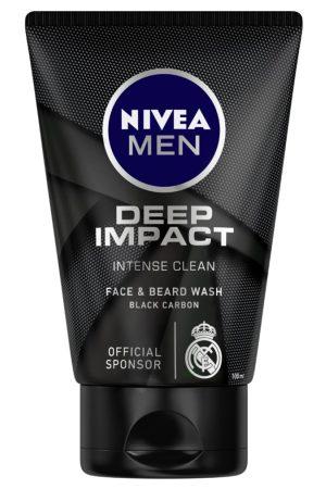 Nivea Men Deep Impact Intense Clean Face & Beard Wash - Black Carbon - 100 ml