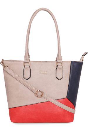 Elle Beige & Red Solid Shoulder Bag