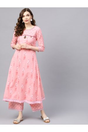 Ishin Women Pink & White Printed Kurta with Palazzos