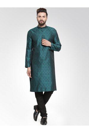 Jompers Men Green Self Design Kurta with Churidar