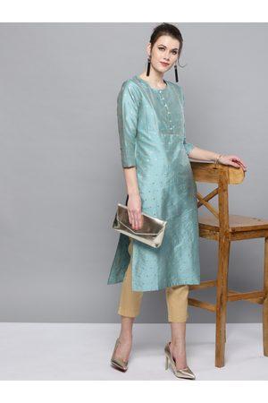 STREET 9 Women Turquoise Blue & Beige Self Design Kurta with Trousers