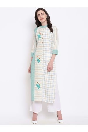 Kvsfab Women Blue & White Checked Straight Kurta