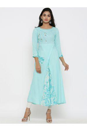 Yash Gallery Women Blue Printed A-Line Kurta