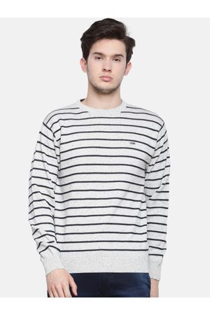 T-BASE Men Off-White Striped Sweater