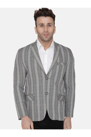 Wintage Men Silver-Toned Checked Regular-Fit Single-Breasted Blazer