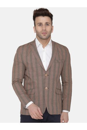 Wintage Men Brown & Grey Striped Regular-Fit Single-Breasted Blazer