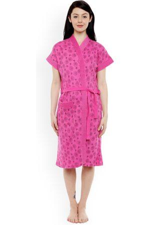 Sand Women Pink Printed Bathrobe