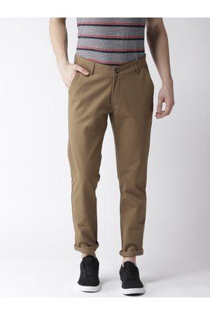 Hubberholme Men Olive Brown Slim Fit Solid Regular Trousers