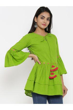 Yash Gallery Women Green Solid Peplum Top
