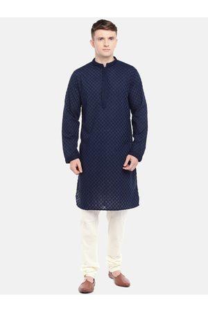 Ethnicity Men Navy Blue & White Self Design Kurta with Pyjamas