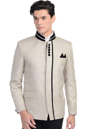 Wintage Men Off-White Single-Breasted Tailored Fit Ethnic Bandhgala Blazer