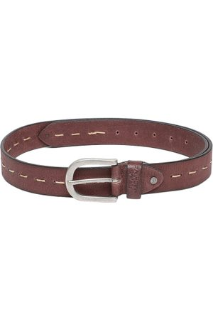 Flying Machine Men Brown Solid Leather Belt