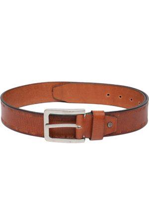 Flying Machine Men Belts - Men Tan Brown Solid Leather Belt