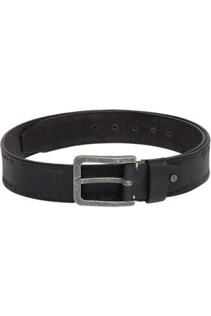 Flying Machine Men Belts - Men Black Solid Leather Belt
