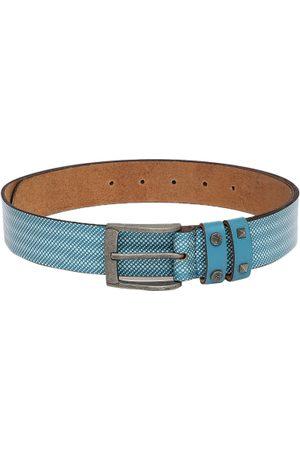 Flying Machine Men Blue Printed Leather Belt