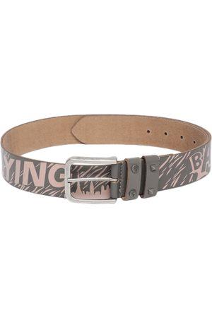 Flying Machine Men Grey & Pink Leather Printed Belt