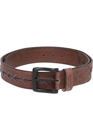 Flying Machine Men Brown Woven Design Leather Belt