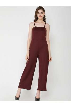 Cation Women Maroon Solid Basic Jumpsuit