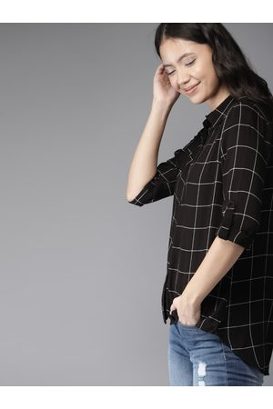 HERE&NOW Women Black & White Checked High-Low Hem Casual Shirt