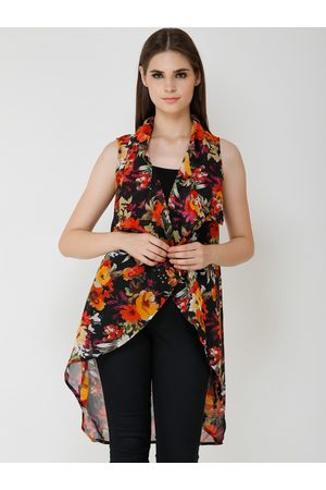 Cation Women Black & Red Printed Open Front Shrug