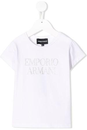 Emporio Armani Girls Short Sleeve - Glitter logo print T-shirt