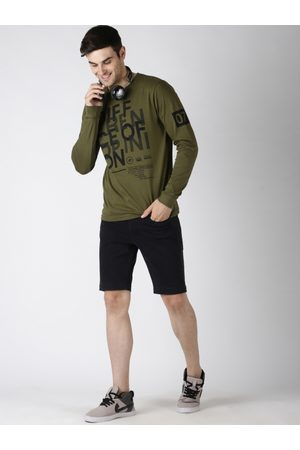 Difference of Opinion Men Olive Green Printed Round Neck T-shirt