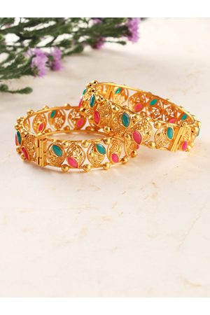 AccessHer Women Set of 2 Gold-Plated Stone-Studded Bangles