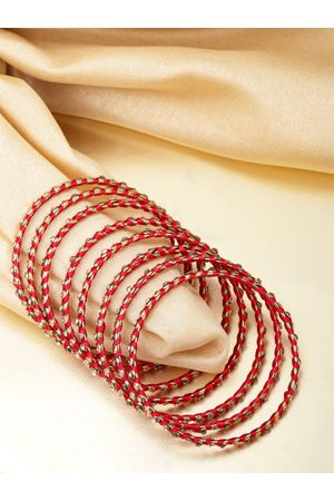 Priyaasi Women Set Of 8 Red Gold-Plated Stone-Studded Handcrafted Bangles