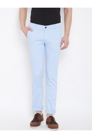 Nation Polo Club Men Blue Skinny Fit Solid Regular Trousers