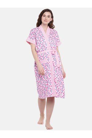 Sand Women Pink & Green Printed Bath Robe 7055
