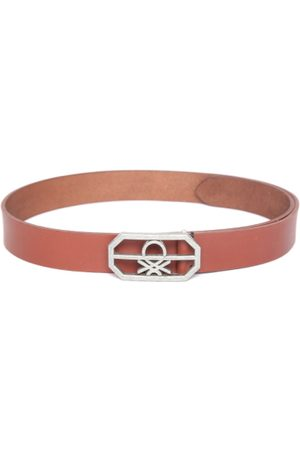 Benetton Men Belts - Men Tan Brown Solid Leather Belt