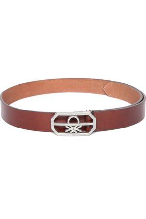Benetton Men Belts - Men Brown Leather Solid Belt