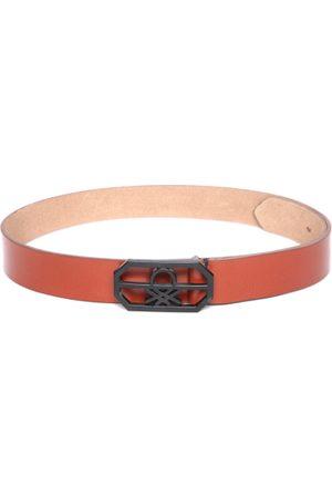 Benetton Men Belts - Men Tan Brown Leather Solid Belt