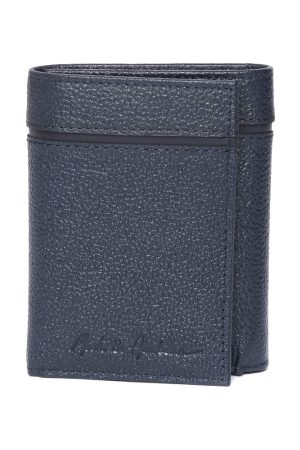 Mast & Harbour Men Navy Blue Solid Leather Three Fold Wallet