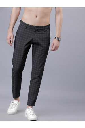 Highlander Men Black & Grey Slim Fit Checked Regular Trousers