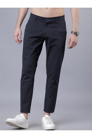 Highlander Men Navy Blue & Grey Slim Fit Checked Regular Trousers
