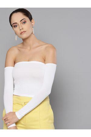 Veni Vidi Vici Women Off-White Solid Bardot Crop Top
