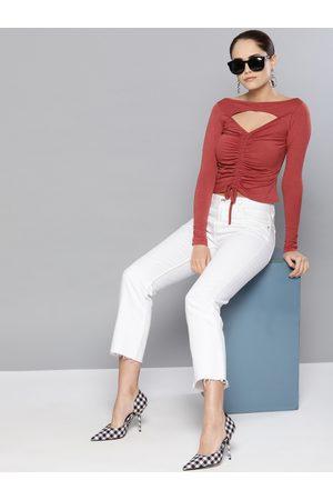 Veni Vidi Vici Women Rust Red Solid Fitted Crop Top
