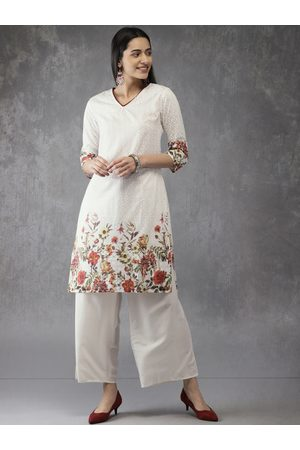 Anouk Women White Embroidered Kurta with Palazzos