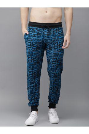 HERE&NOW Men Blue & Black Printed Regular Fit Joggers