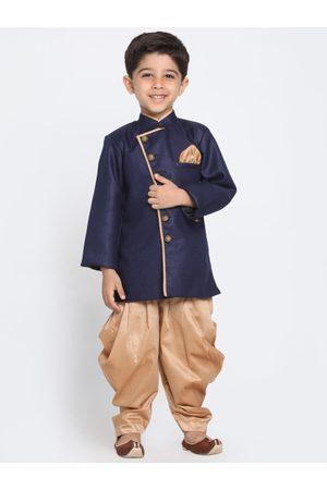 JBN Creation Boys Navy & Golden Sherwani Set