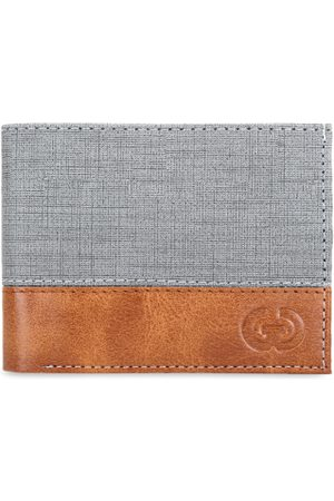 Greywood Men Grey Colourblocked Two Fold Wallet